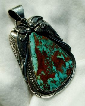Pilot mountain turquoise pendant by FlagstaffTraders