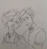Andre and Marie 1906 Pencil Sketch by Chrissyissypoo19