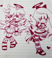 Sketch- Panty and Stocking go to English class by Angosciasea