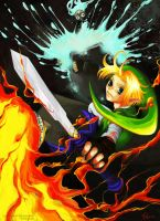 Link VS. Twinrova by sharihes