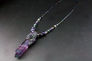 Polymer Clay Fluorite Leaf Necklace by ArtfulParadox