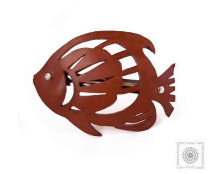 Leather barrette. Fish by byLighty
