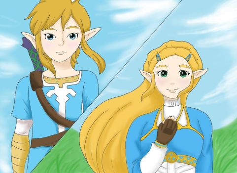 Link and Zelda - Breath of the Wild by Juicy0517