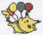 Flying Pikachu cross stitch by Lil-Samuu