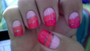 Pink Tri-Colored Nails by wolfgirl4716