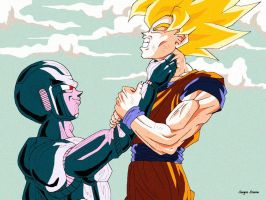 Goku and Cooler by Sersiso