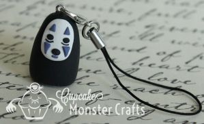 No Face from Spirited Away Cell Phone Charm by CupCakeMonsterCrafts
