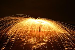 Steel Wool Spinning in the nature by MacroVISUAL