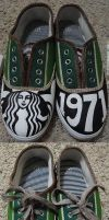 Starbucks Coffee Custom Slip ons by chimeraARTS
