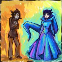 Karkat and John - fem-versions XD (speedpaint) by DymasyaSilver