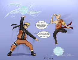 Naruto meets Aang by Dingostride