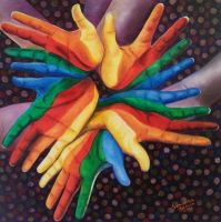 Rainbow Hands- oil painting by SamanthaJordaan