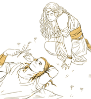 sketch young Finduilas and Gwindor by jubah
