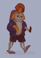 Frisk and Sans by inorheona