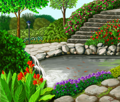 Garden with a pond by abyss1956