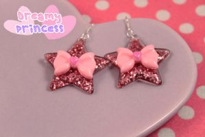 Pink Glitter Star Bow Earrings by PeppermintPuff