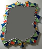 fiesta stained glass mirror by StaindShardStudio