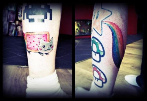 Nyan Cat tattoo by PoeticTragedy3