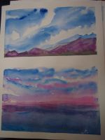 Watercolor Class practice 1 and 2 by Ravenskysong