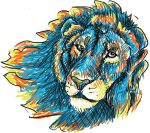 colourful lion.. windswept.. for my helmet (2) by Peltagon