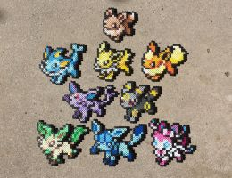 Eeveelutions - Pokemon Perler Bead Sprites by MaddogsCreations