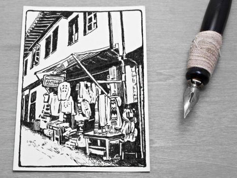 Marketplace Scene Ink Drawing ACEO by OneUrbanTribe