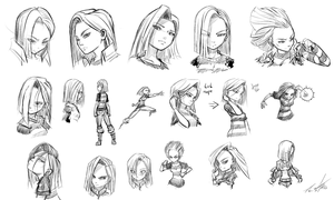 Daily Sketches: Android 18 by DeviantMG