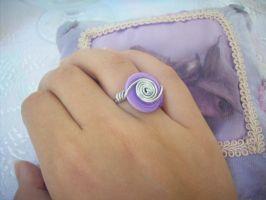 Purple - White Button Ring - 2 by ChrisOnly