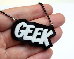 Geek necklace black white by milkool