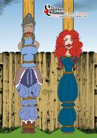 Korra and Merida Tied to a post by thegagster