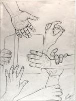 Hand study - Life drawing by 7AirGoddess3