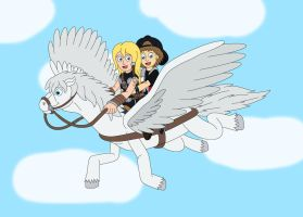 Ace and Valkyrie ride on her Pegasus by MCsaurus