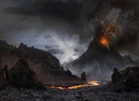 "Matte Painting - ""LOTR-ripoff"" by DwarvenArchitect"