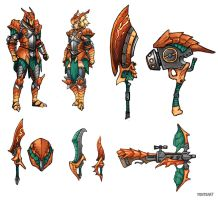 Pokemonster Hunter - Charizard equipment by FonteArt
