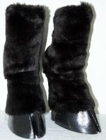 Black cloven hoof boots - furred by HORSEKING