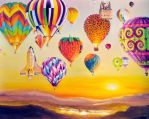 Balloons at dawn by veracauwenberghs