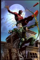 Daredevil and Green Arrow by puzzlepalette