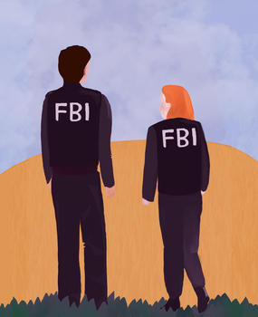 mulder and scully  stress doodle by ragnarok-and-roll