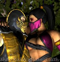 Scorpion with Mileena II by ShaoKahnsSlaveLilith