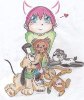 Cherry and his stuffed animals by 12LE5