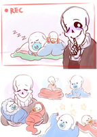 Dadster and Baby skelebros by CubedCake