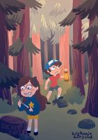 Dipper and mabel at dawn by EmmaSeptimus