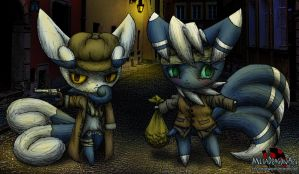 Bonnie and Clyde the meowstic robbers by MetaDragonArt