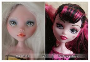 Repainting VS Factory Makeup: Draculaura (Angel) 2 by MySweetQueen-Dolls