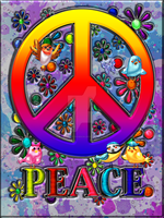 Modern Retro Peace Sign Text Birds Flowers by BlakeHenryRobson