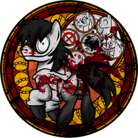 stained glass halloween: jeff Pony remark by Crystalchan2D