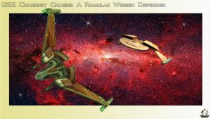 USS Chandley chasing a Romulan Winged Defender by MotoTsume