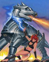 Pixie Fights a Mecha by AlanGutierrezArt