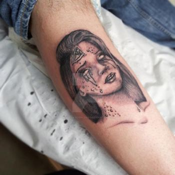 Pretty Grotesque zombie girl tattoo by heartsandanchors