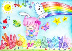 -rainbow bunny wonderworld- by Annikachu